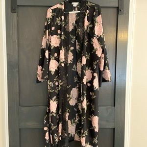 Floral Long satin tie waist blouse